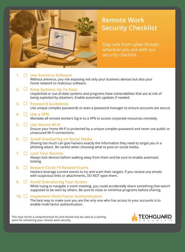 Remote work security checklist overview 2